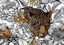 Naadloos bloemenpatroon met Luipaard en pioenen royalty-vrije illustratie