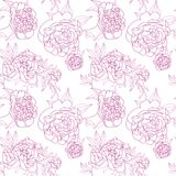 Naadloos bloemenpatroon met pioen Vector illustratie stock illustratie