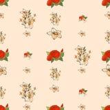 Naadloos bloemenpatroon met pioenen Stock Afbeeldingen