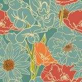 Naadloos Bloemenpatroon met Rode Bloemen Stock Afbeelding
