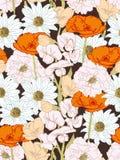 Naadloos Bloemenpatroon met Rode Bloemen op Zwart-wit Achtergrond Royalty-vrije Stock Afbeelding