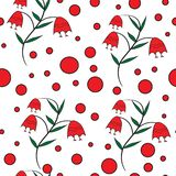 Naadloos bloemenpatroon met rode klokken stock illustratie