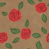 Naadloos bloemenpatroon met rode rozen op document achtergrond Stock Fotografie
