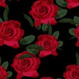 Naadloos bloemenpatroon met rode rozen op zwarte achtergrond royalty-vrije illustratie