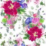 Naadloos bloemenpatroon met tulpen, anemonen, hydrangea hortensia, eucalyptus en bladeren, waterverf het schilderen stock illustratie