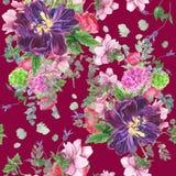 Naadloos bloemenpatroon met tulpen, anemonen, hydrangea hortensia, eucalyptus en bladeren, waterverf het schilderen vector illustratie
