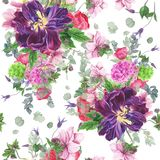 Naadloos bloemenpatroon met tulpen, anemonen, hydrangea hortensia, eucalyptus en bladeren, waterverf het schilderen royalty-vrije illustratie