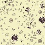 Naadloos bloemenpatroon met violette inktelementen stock illustratie