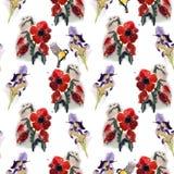 Naadloos bloemenpatroon met vogels Stock Afbeeldingen