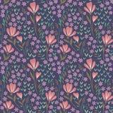 Naadloos Bloemenpatroon op donkere achtergrond Royalty-vrije Illustratie