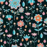 Naadloos bloemenpatroon op een blauwe achtergrond Royalty-vrije Stock Afbeeldingen