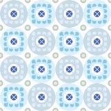 Naadloos bloemenpatroon op grijze en blauwe cirkels Stock Foto