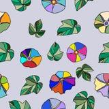 Naadloos bloemenpatroon op lichte lilac achtergrond met mooi Royalty-vrije Stock Foto's