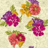 Naadloos Bloemenpatroon op Zwart-wit Achtergrond Royalty-vrije Stock Foto's