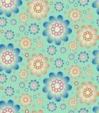 Naadloos bloemenpatroon in retro blauwe en oranje kleuren Royalty-vrije Stock Foto