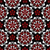 Naadloos BloemenPatroon Rode en witte elementen op zwarte achtergrond Royalty-vrije Stock Afbeelding