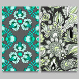 Naadloos bloemenpatroon twee oosters of Indisch ontwerp voorraad ve Royalty-vrije Stock Afbeeldingen