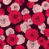 Naadloos bloemenpatroon van roze roze knoppen Royalty-vrije Stock Afbeelding