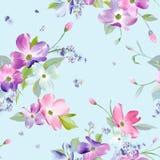 Naadloos bloemenpatroon Waterverf Bloemenachtergrond voor Huwelijksuitnodiging, Stof, Behang, Textiel stock illustratie