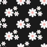 Naadloos BloemenPatroon Witte bloemen op een zwarte achtergrond Stock Afbeelding