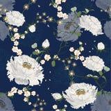Naadloos BloemenPatroon Witte Chinese nationale bloempioen en kers bloosom Oosterse Zachte en gentel roze bloeivector vector illustratie