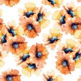 Naadloos BloemenPatroon Zonnebloemen watercolor Stock Afbeeldingen