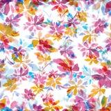 Naadloos bloemenwaterverfpatroon Royalty-vrije Stock Foto's