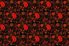 Naadloos bloemenzwarte en rood als achtergrond Stock Foto's