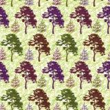 Naadloos, bomen en abstract patroon Royalty-vrije Stock Fotografie
