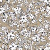 Naadloos botanisch patroon met bruine achtergrond royalty-vrije stock foto