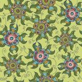 Naadloos botanisch patroon met geometrische kleurrijke bloem Royalty-vrije Stock Fotografie
