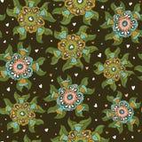 Naadloos botanisch patroon met geometrische kleurrijke bloemen Royalty-vrije Stock Foto's