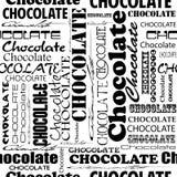 Naadloos chocoladepatroon met woord van chocolade met verschillend Stock Foto's