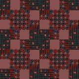 Naadloos cirkelspatroon donkergroen en rood met bruine vierkanten Royalty-vrije Stock Afbeelding