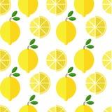 Naadloos citroenpatroon op witte achtergrond Stock Fotografie