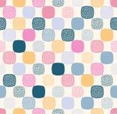 Naadloos creatief modieus rond gemaakt vierkant met punten geweven speels patroon stock illustratie