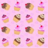 Naadloos cupcakepatroon Stock Afbeelding