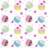 Naadloos cupcakepatroon Stock Foto