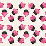 Naadloos cupcakepatroon Vectorcupcakepatroon Als achtergrond Royalty-vrije Stock Fotografie