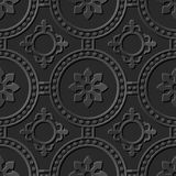 Naadloos 3D elegant donker document kunstpatroon 265 Rond Dot Cross Flower Stock Foto's