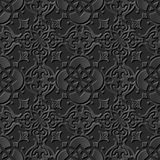Naadloos 3D elegant donker document kunstpatroon 226 Ronde Dwarsbloem Stock Foto