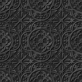 Naadloos 3D elegant donker document kunstpatroon 237 Ronde Krommecaleidoscoop Stock Foto's