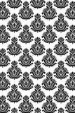 Naadloos damastpatroon B/W Stock Afbeeldingen
