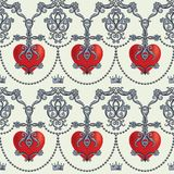 Naadloos damastpatroon met mooie sier rode harten met kronen Vector illustratie stock illustratie