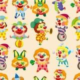 Naadloos de clownpatroon van het beeldverhaalcircus Stock Afbeelding