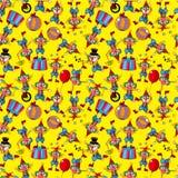 Naadloos de clownpatroon van het beeldverhaalcircus Royalty-vrije Stock Afbeelding