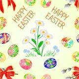 Naadloos de decoratiepaaseieren en madeliefje van textuur Gelukkig Pasen op groene gras, pussy willov en boog Seizoengebonden vak royalty-vrije illustratie