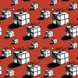 Naadloos de doospatroon van de Kerstmisgift Stock Afbeeldingen