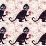 Naadloos de gouachepatroon van de Frida zwart aap en surreal beige bloemen vector illustratie