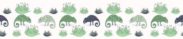 Naadloos de grenspatroon van de kameleonhagedis Groene reptiel herhaalbare vectorillustratie stock illustratie